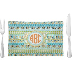 Teal Ribbons & Labels Rectangular Glass Lunch / Dinner Plate - Single or Set (Personalized)