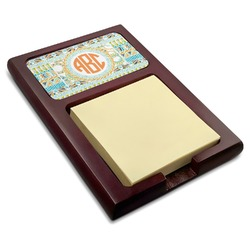Teal Ribbons & Labels Red Mahogany Sticky Note Holder (Personalized)