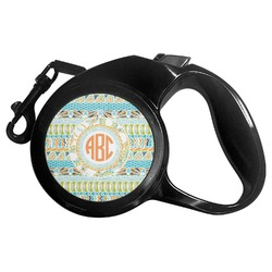 Teal Ribbons & Labels Retractable Dog Leash (Personalized)