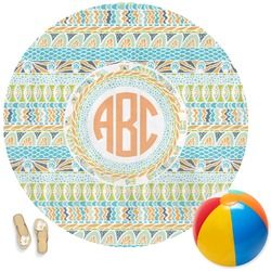 Teal Ribbons & Labels Round Beach Towel (Personalized)
