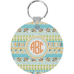Teal Ribbons & Labels Round Keychain (Personalized)