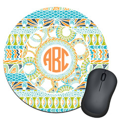 Teal Ribbons & Labels Round Mouse Pad (Personalized)