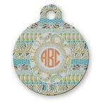 Teal Ribbons & Labels Round Pet Tag (Personalized)
