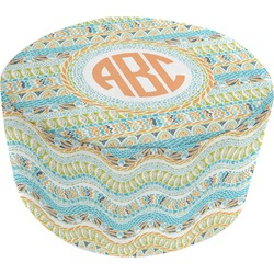 Teal Ribbons & Labels Round Pouf Ottoman (Personalized)