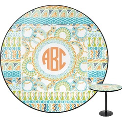 Teal Ribbons & Labels Round Table (Personalized)