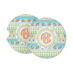 Teal Ribbons & Labels Sandstone Car Coasters (Personalized)