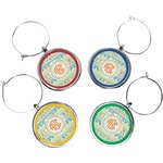 Teal Ribbons & Labels Wine Charms (Set of 4) (Personalized)