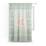 Teal Ribbons & Labels Sheer Curtains (Personalized)