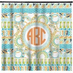 Teal Ribbons & Labels Shower Curtain (Personalized)