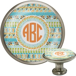 Teal Ribbons & Labels Cabinet Knob (Silver) (Personalized)
