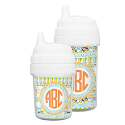 Teal Ribbons & Labels Sippy Cup (Personalized)
