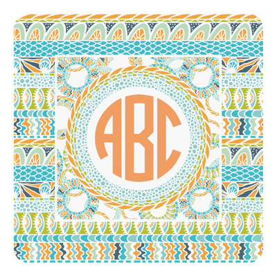 Teal Ribbons & Labels Square Decal (Personalized)