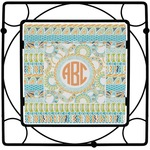 Teal Ribbons & Labels Square Trivet (Personalized)