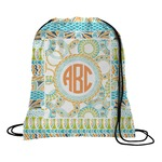 Teal Ribbons & Labels Drawstring Backpack (Personalized)