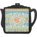 Teal Ribbons & Labels Teapot Trivet (Personalized)