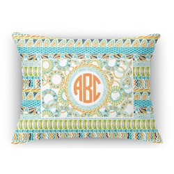 Teal Ribbons & Labels Rectangular Throw Pillow Case (Personalized)