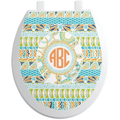 Teal Ribbons & Labels Toilet Seat Decal - Round (Personalized)