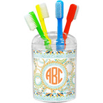 Teal Ribbons & Labels Toothbrush Holder (Personalized)