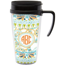 Teal Ribbons & Labels Travel Mug with Handle (Personalized)