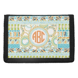 Teal Ribbons & Labels Trifold Wallet (Personalized)