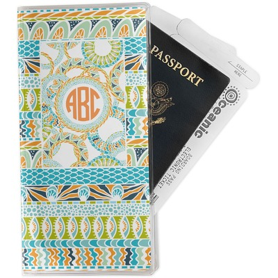 Teal Ribbons & Labels Travel Document Holder