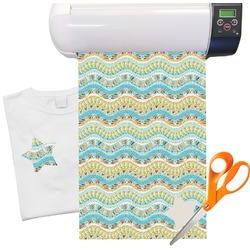 "Teal Ribbons & Labels Heat Transfer Vinyl Sheet (12""x18"")"