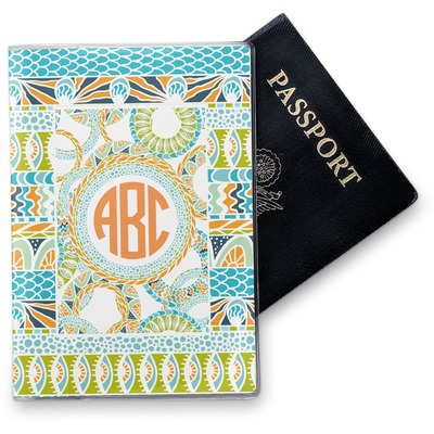 Teal Ribbons & Labels Vinyl Passport Holder (Personalized)