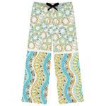 Teal Ribbons & Labels Womens Pajama Pants (Personalized)