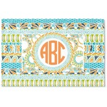Teal Ribbons & Labels Woven Mat (Personalized)