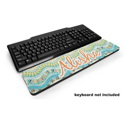 Teal Ribbons & Labels Keyboard Wrist Rest (Personalized)