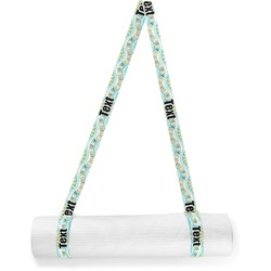 Teal Ribbons & Labels Yoga Mat Strap (Personalized)