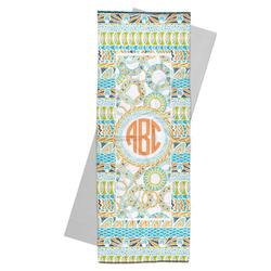 Teal Ribbons & Labels Yoga Mat Towel (Personalized)