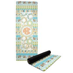 Teal Ribbons & Labels Yoga Mat (Personalized)