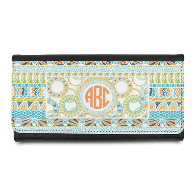 Teal Ribbons & Labels Leatherette Ladies Wallet (Personalized)