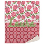 Roses Sherpa Throw Blanket (Personalized)