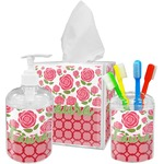 Roses Acrylic Bathroom Accessories Set w/ Name or Text