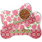 Roses Bone Shaped Dog Food Mat (Personalized)
