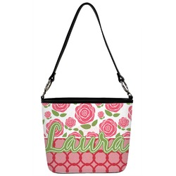 Roses Bucket Bag w/ Genuine Leather Trim (Personalized)