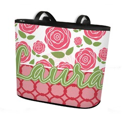 Roses Bucket Tote w/ Genuine Leather Trim (Personalized)