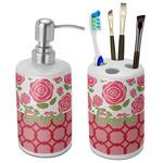 Roses Ceramic Bathroom Accessories Set (Personalized)