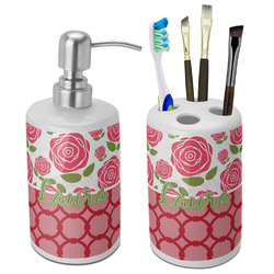 Roses Bathroom Accessories Set (Ceramic) (Personalized)