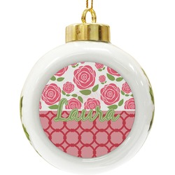 Roses Ceramic Ball Ornament (Personalized)
