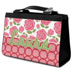 Roses Classic Tote Purse w/ Leather Trim (Personalized)