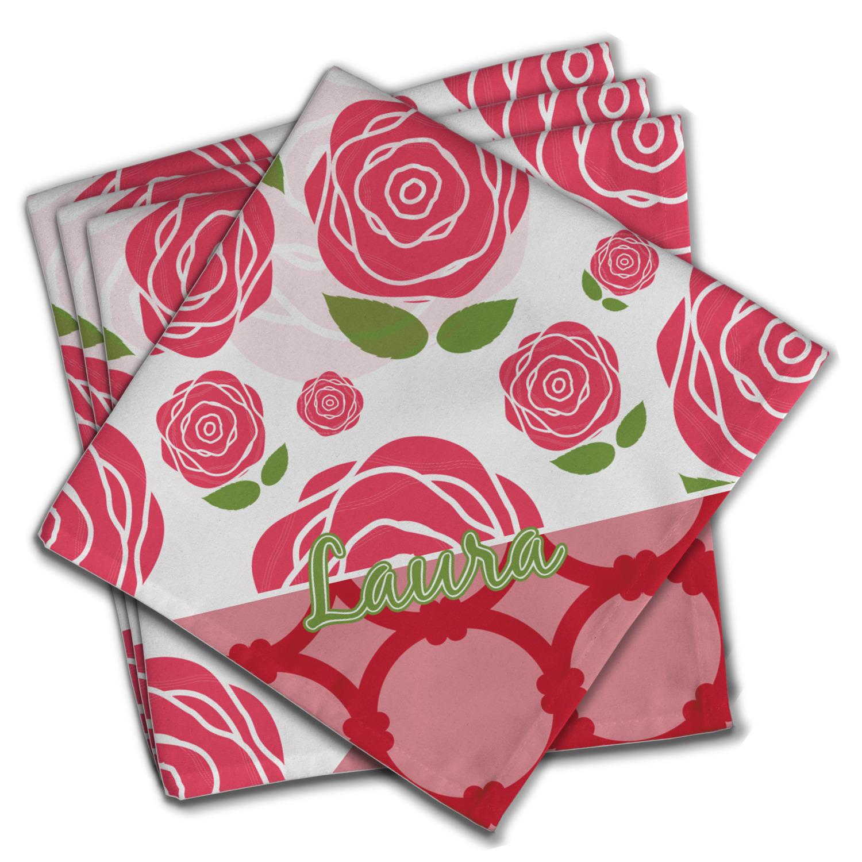 Roses Cloth Napkin W Name Or Text Youcustomizeit