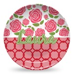 Roses Microwave Safe Plastic Plate - Composite Polymer (Personalized)