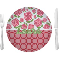 """Roses 10"""" Glass Lunch / Dinner Plates - Single or Set (Personalized)"""