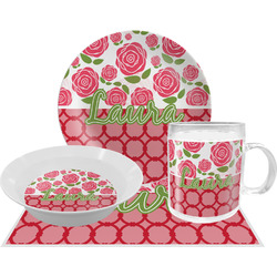 Roses Dinner Set - 4 Pc (Personalized)