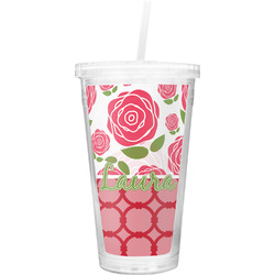Roses Double Wall Tumbler with Straw (Personalized)