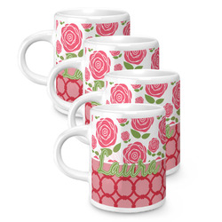 Roses Espresso Mugs - Set of 4 (Personalized)