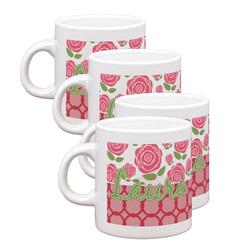 Roses Espresso Mugs - Set of 4 (Personalized)